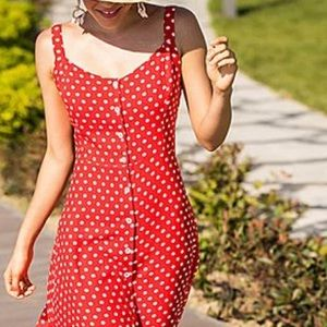 VINTAGE Red and White Polka Dot Button Up Dress